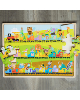 Alphabet Express 24-Piece Wooden Puzzle - Early Learning Toys for Babies - Fat Brain Toys