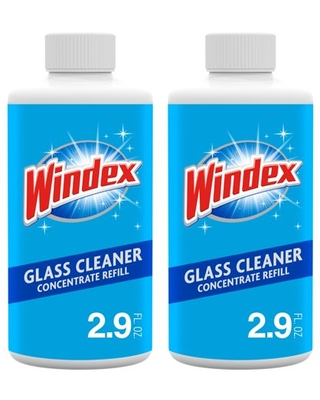 Windex Glass Cleaner Concentrate, Two 2.9 Ounces Concentrated Refill Bottles