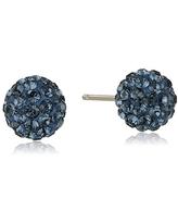Crystaluxe Ball Stud Earrings with Navy Crystals in 14K Gold - Blue (Blue - Yellow)