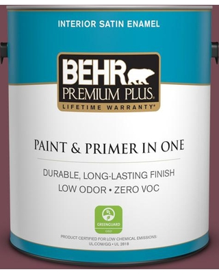 BEHR Premium Plus 1 gal. #PPU2-20 Oxblood Satin Enamel Low Odor Interior Paint and Primer in One, Red