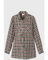 Maternity Plaid Long Sleeve Popover Tunic - Isabel Maternity by Ingrid & Isabel Black/Brown XL