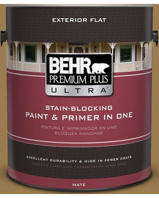 BEHR Premium Plus Ultra 1 gal. #320F-6 Wool Tweed Flat Exterior Paint and Primer in One
