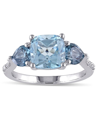 3-Stone Multi-Cut Sky and London Blue Topaz Diamond Ring in Sterling Silver by Miadora (5)