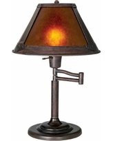 "Mission Bronze 18"" High Mica Shade Swing Arm Table Lamp"