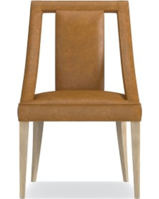 Sussex Dining Side Chair, Italian Distressed Leather, Caramel, Heritage Grey Leg