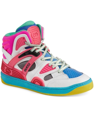 Gucci Basket High Top Sneaker, Size 8.5Us in White/Multi at Nordstrom