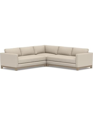 Jake Upholstered 3-Piece L-Shaped Corner Sectional with Wood Legs, Polyester Wrapped Cushions, Textured Twill Khaki