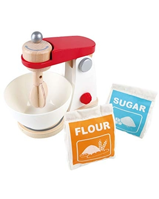 Hape White Wooden Kitchen Mix & Bake Blender Toy, Playfully Delicious Mighty Mixer, Pretend Play Baking Mixer Set for Kids Preschoolers, Multicolor (E3147)