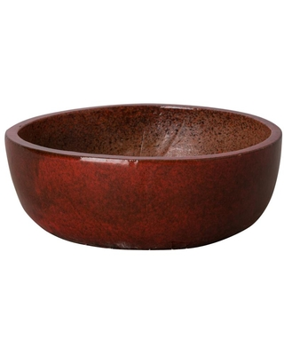 Emissary 18 in. Shallow Tropical Red Round Ceramic Planter