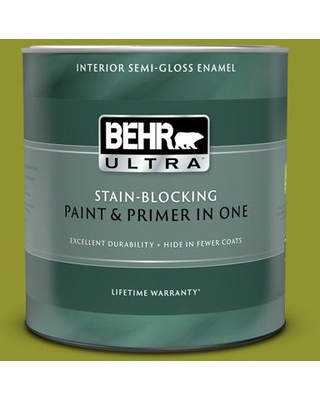 BEHR ULTRA 1 qt. #P350-7 Lazy Lizard Semi-Gloss Enamel Interior Paint and Primer in One