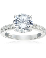 Sterling Silver Cubic Zirconia Ladies Ring, Size 6