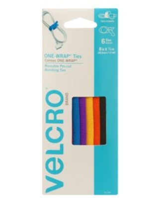 VELCRO Brand ONE-WRAP Ties For Cable and Cord Management, 8in x 1/2in Ties, Multicolor 6 ct