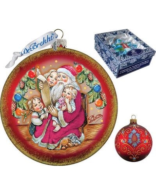 The Holiday Aisle Santa's List Circle Glass Ornament Holiday Splendor Collection IEBZ3000