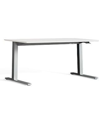 Humanscale Sit-Stand Desk, Large, Silver Base/White Top