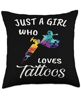 TeePrincess Cute Art Watercolor Just A Girl Who Loves Tattoos Throw Pillow, 18x18, Multicolor