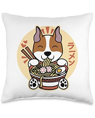 Funny Amstaff Gifts Ramen American Staffordshire Terrier Dog Throw Pillow, 16x16, Multicolor