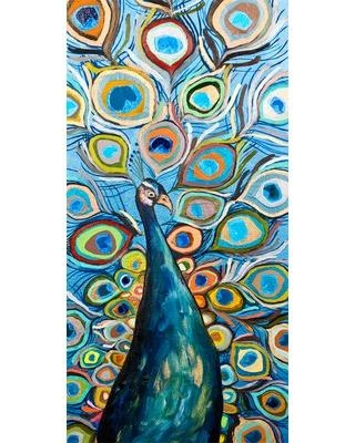 "GreenBox Art ""Peacock-Metallic Ocean Blue"" by Eli Halpin Painting Print on Wrapped Canvas NB45532"