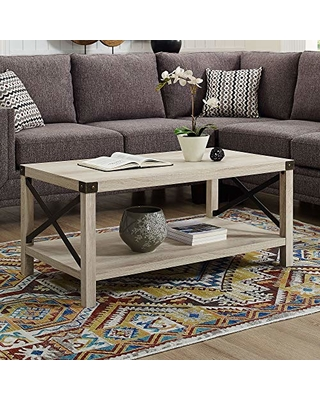 Walker Edison Rustic Modern Farmhouse Metal and Wood Rectangle Accent Coffee Table Living Room Ottoman Storage Shelf, White Oak
