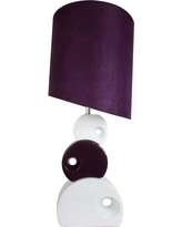 Elegant Designs 29 in. Purple and White Stacked Circle Ceramic Table Lamp with Asymmetrical Shade