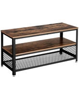 Wooden TV Stand with Two Open Spacious Shelves Brown/Black - Benzara