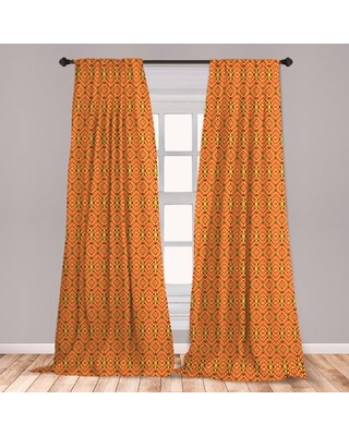 Ambesonne African Window Curtains, Oriental Geometric Symmetrical Composition Motifs Of Antique Inspirations, Lightweight Decorative Panels Set Of 2 W
