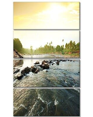 Design Art 'Beautiful Tropical River with Clean Water' 4 Piece Photographic Print on Wrapped Canvas Set PT12565-271V