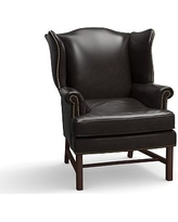 Thatcher Leather Armchair, Polyester Wrapped Cushions, Leather Vintage Midnight