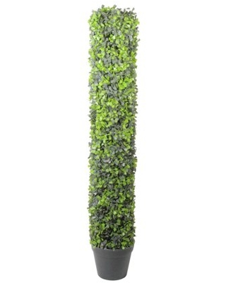 "37.5"" Potted Artificial Two-Tone Boxwood Column Topiary Tree"