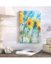 "August Grove Sunflowers in Glass Bottles Painting Print on Wrapped Canvas ATGR6711 Size: 12"" H x 8"" W x 0.75"" D"