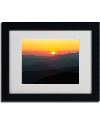 """Trademark Fine Art """"Great Smoky Mountains Sunset"""" by Pierre Leclerc Framed Photographic Print PL0034- Size: 11"""" H x 14"""" W x 0.5"""" D Frame: Black"""