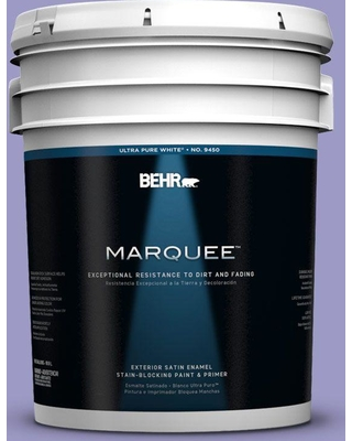 BEHR MARQUEE 5 gal. #630B-5 Majestic Violet Satin Enamel Exterior Paint and Primer in One