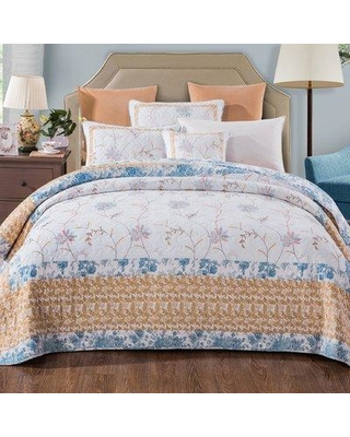 Remarkable Deals On August Grove Mariah Cotton Reversible Quilt Set Polyester Polyfill 100 Cotton In Yellow Gold Blue Size Queen Wayfair Aggr6449 39894148