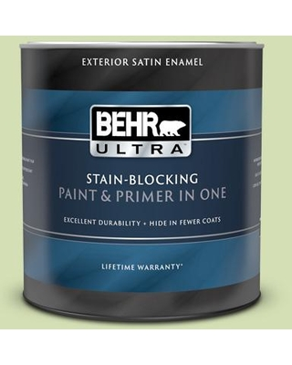BEHR ULTRA 1 qt. #420C-3 Celery Bunch Satin Enamel Exterior Paint and Primer in One