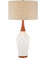"Rocco 30"" High Mid-Century Modern White Ceramic Table Lamp"