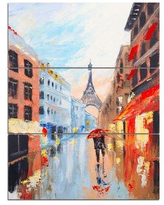 "Design Art Couple Walking in Paris - 3 Piece Painting Print on Wrapped Canvas Set, Canvas & Fabric in Red/Brown/Blue, Size Medium 25""-32"" 
