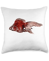 taiche Ryukin Goldfish Artistic and Isolated Throw Pillow, 18x18, Multicolor