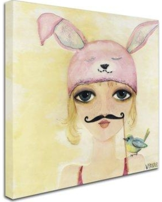 """Trademark Art 'Big Eyed Girl Be Yourself' Print on Wrapped Canvas ALI8146-C Size: 14"""" H x 14"""" W x 2"""" D"""