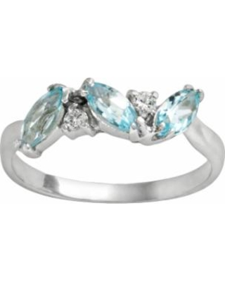 Sterling Silver Blue Topaz and Cubic Zirconia Ring, Women's, Size: 10