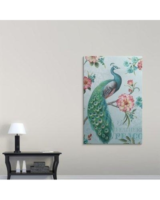 """Great Big Canvas 'Blue Feathered Peacock I' by Lisa Audit Graphic Art Print 2152604_1 Size: 60"""" H x 40"""" W x 1.5"""" D Format: Canvas"""
