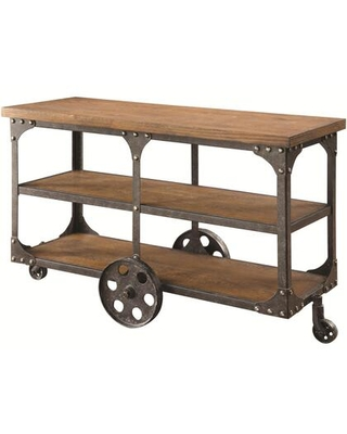 BM184888 Industrial Style Solid Wooden Sofa Table With Metal Accents & Wheels