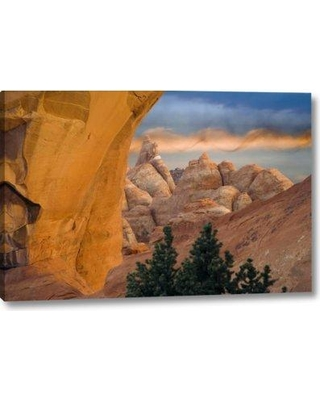 "Union Rustic 'Ut Arches Np Setting Sun Illumines Skyline Arch' Photographic Print on Wrapped Canvas BI153011 Size: 10"" H x 16"" W x 1.5"" D"