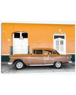 """East Urban Home 'Cuba Fuerte Collection - Old Orange Car' By Philippe Hugonnard Graphic Art Print on Wrapped Canvas ETRC6563 Size: 18"""" H x 26"""" W x 1.5"""" D"""