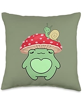 Cottagecore Aesthetic Lover Gift Store Frog with Mushroom Hat Cute Cottagecore Aesthetic Throw Pillow, 16x16, Multicolor