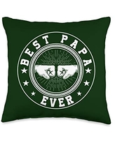 Father's Day Gift Co. Best Papa Ever Retro Fist Bump Grandpa Father's Day Gift Throw Pillow, 16x16, Multicolor