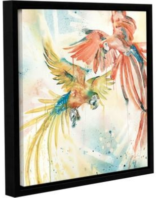 """Bay Isle Home Birds of a Feather Framed Painting Print on Wrapped Canvas BAYI4673 Size: 36"""" H x 36"""" W x 2"""" D"""
