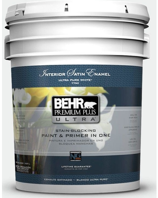 BEHR ULTRA 5 gal. #57 Frost Satin Enamel Interior Paint and Primer in One