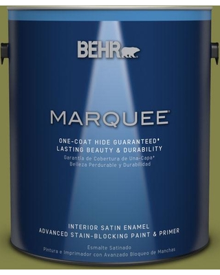 BEHR MARQUEE 1 gal. #MQ6-61 Basil Chiffonade One-Coat Hide Satin Enamel Interior Paint and Primer in One
