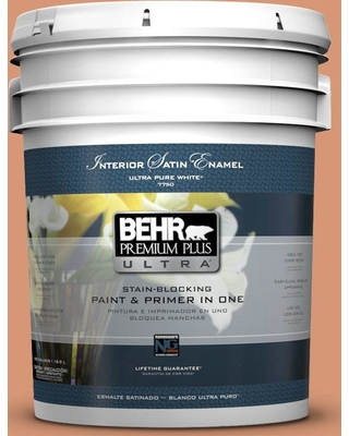 BEHR Premium Plus Ultra 5 gal. #M210-5 Candied Yams Satin Enamel Interior Paint and Primer in One
