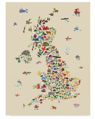 Trademark Fine Art 'Animal Map of Great Britain & NI for children and kids Beige' Canvas Art by Michael Tompsett