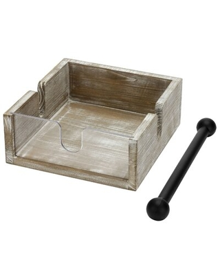 Square Paper Napkin Holder With Weighted Arm Bar